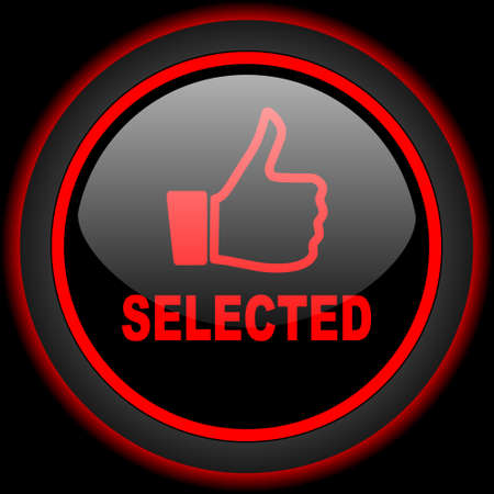 selected: selected black and red glossy internet icon on black background