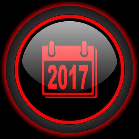 scheduler: new year 2017 black and red glossy internet icon on black background