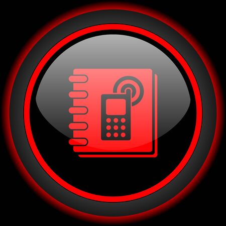 phonebook: phonebook black and red glossy internet icon on black background