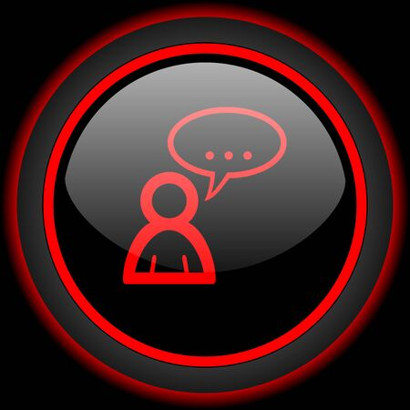 contacting: forum black and red glossy internet icon on black background