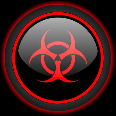 bacterioa: biohazard black and red glossy internet icon on black background