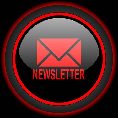 newsprint: newsletter black and red glossy internet icon on black background Stock Photo
