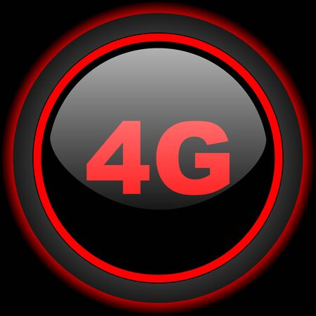 4g: 4g black and red glossy internet icon on black background Stock Photo