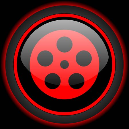 watch movement: film black and red glossy internet icon on black background