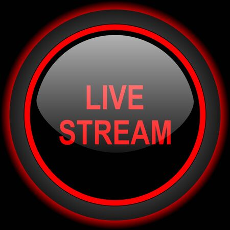 live stream tv: live stream black and red glossy internet icon on black background