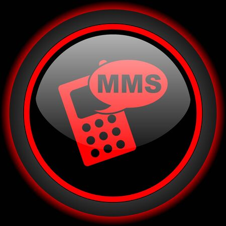 mms: mms black and red glossy internet icon on black background Stock Photo