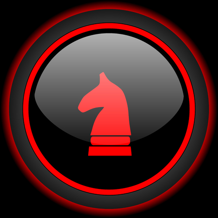 chess horse: chess horse black and red glossy internet icon on black background