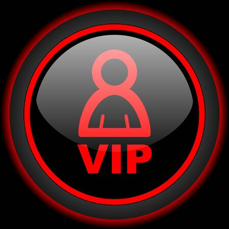 private club: vip black and red glossy internet icon on black background Stock Photo