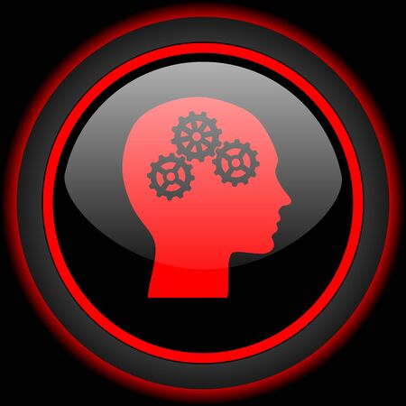 brainy: head black and red glossy internet icon on black background