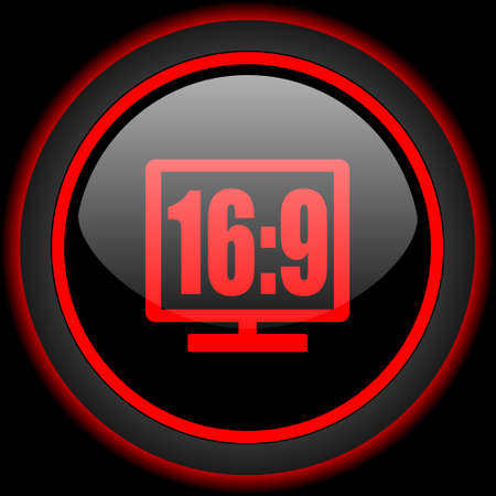 16 9 display: 16:9 display black and red glossy internet icon on black background Stock Photo