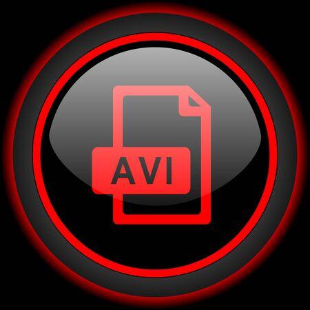 avi: avi file black and red glossy internet icon on black background Stock Photo