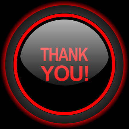 te negro: thank you black and red glossy internet icon on black background
