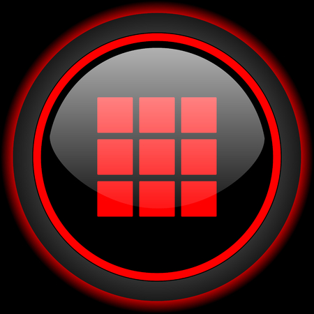 square button: thumbnails grid black and red glossy internet icon on black background