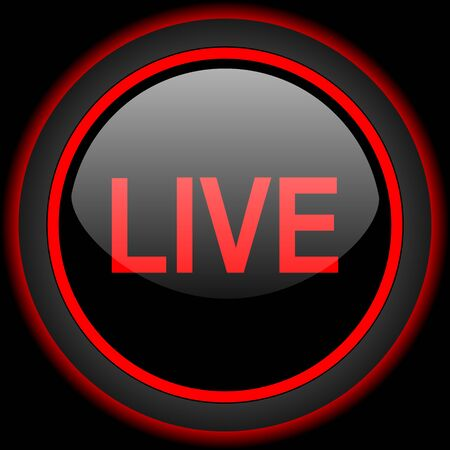 live stream tv: live black and red glossy internet icon on black background Stock Photo