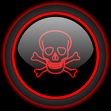 pirating: skull black and red glossy internet icon on black background
