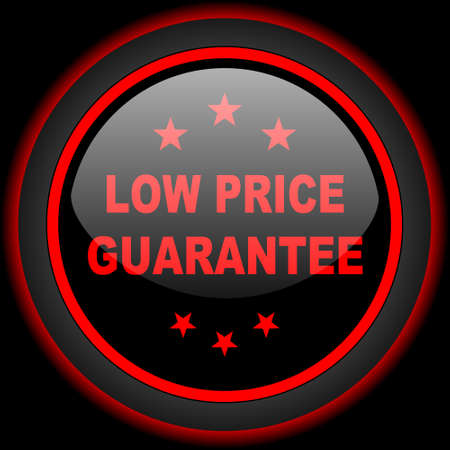 low price: low price guarantee black and red glossy internet icon on black background