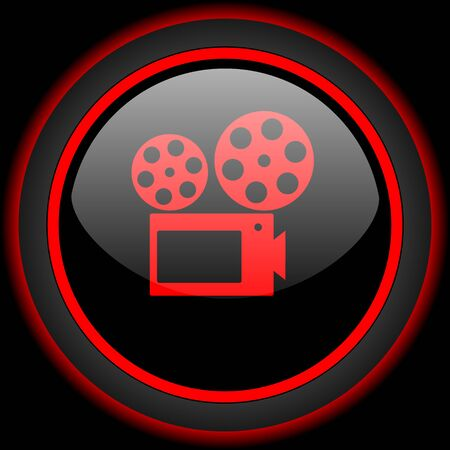 watch movement: movie black and red glossy internet icon on black background