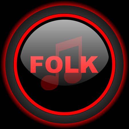 folk music: folk music black and red glossy internet icon on black background Stock Photo