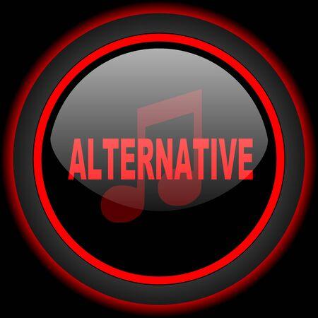 live stream radio: alternative music black and red glossy internet icon on black background