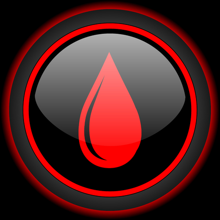 waterdrops: water drop black and red glossy internet icon on black background