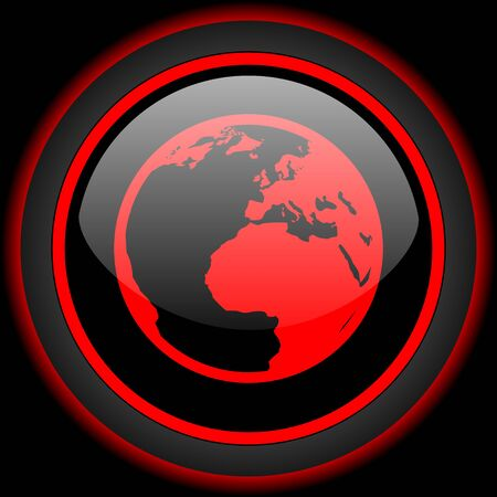 red earth: earth black and red glossy internet icon on black background