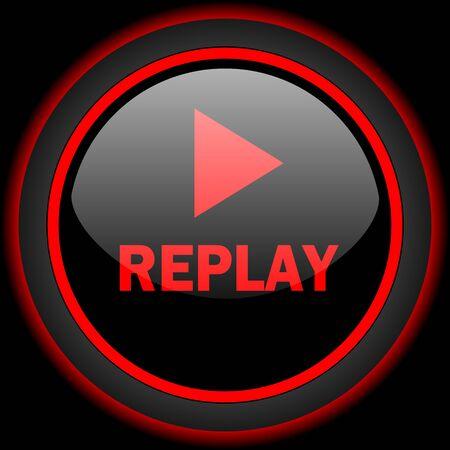 Replay schwarz und rot glänzend Internet-Symbol auf schwarzem Hintergrund Standard-Bild - 53462448