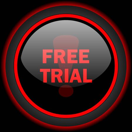 free trial: free trial black and red glossy internet icon on black background