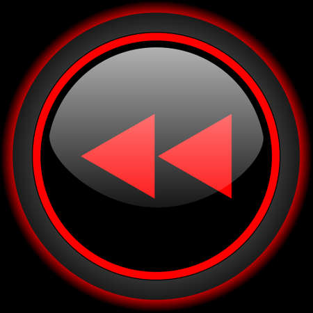 black button: rewind black and red glossy internet icon on black background