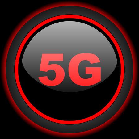 telephony: 5g black and red glossy internet icon on black background
