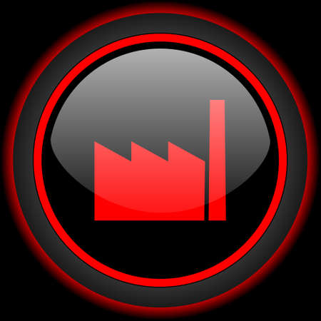 industrial complex: factory black and red glossy internet icon on black background Stock Photo