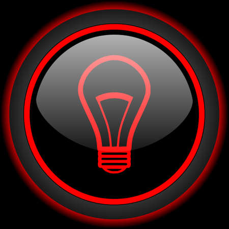 lighting button: bulb black and red glossy internet icon on black background