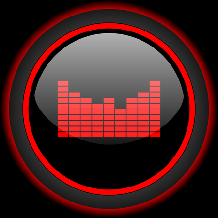red sound: sound black and red glossy internet icon on black background