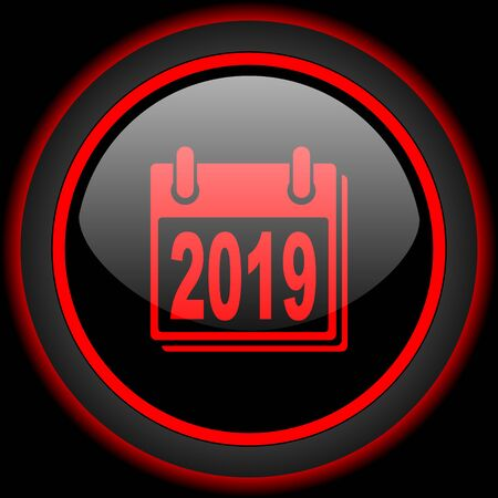agenda year planner: new year 2019 black and red glossy internet icon on black background