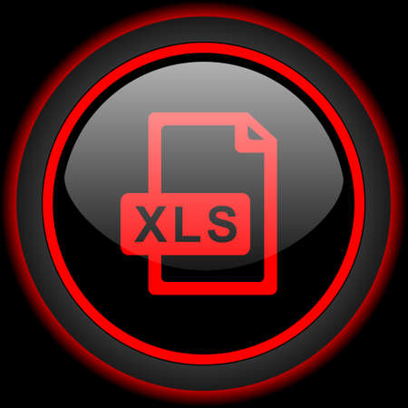 calc: xls file black and red glossy internet icon on black background