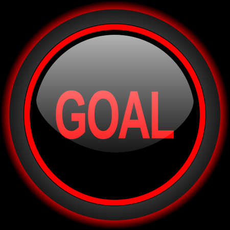 interface scheme: goal black and red glossy internet icon on black background Stock Photo