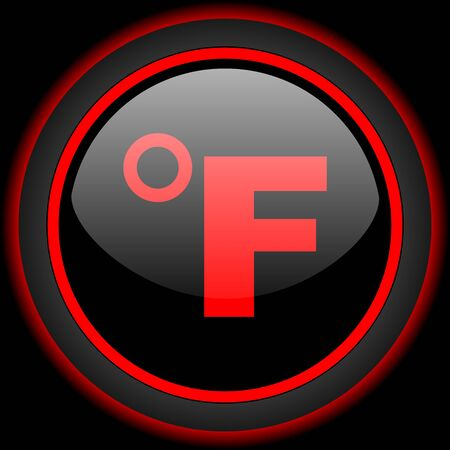 fahrenheit: fahrenheit black and red glossy internet icon on black background