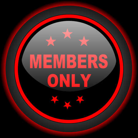 members only: members only black and red glossy internet icon on black background