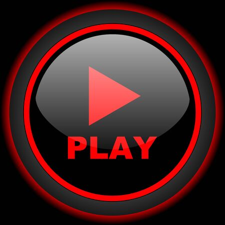 internet icon: play black and red glossy internet icon on black background