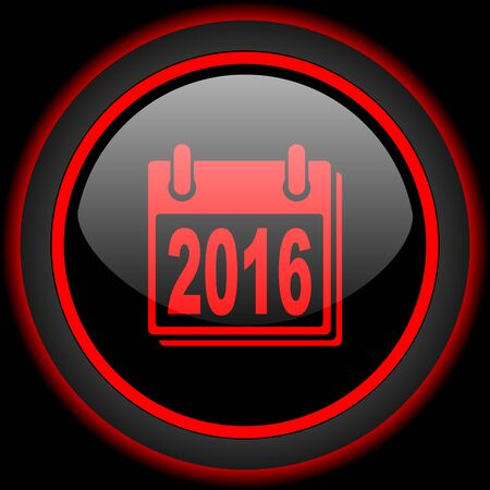 agenda year planner: new year 2016 black and red glossy internet icon on black background