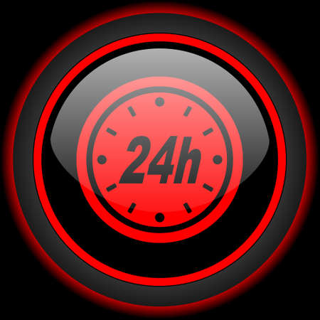 24h: 24h black and red glossy internet icon on black background