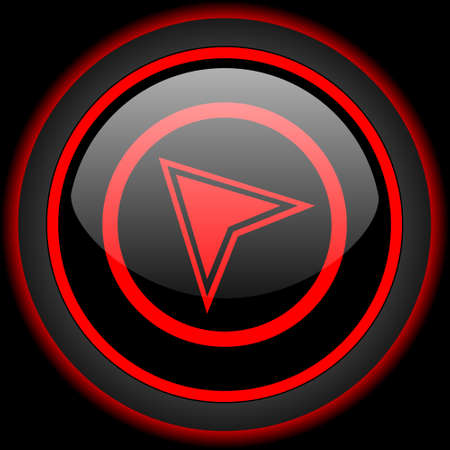 internet icon: navigation black and red glossy internet icon on black background