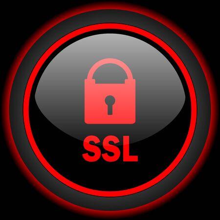 ssl: ssl black and red glossy internet icon on black background