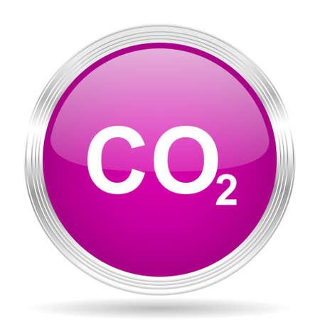 carbon emission: carbon dioxide pink modern web design glossy circle icon