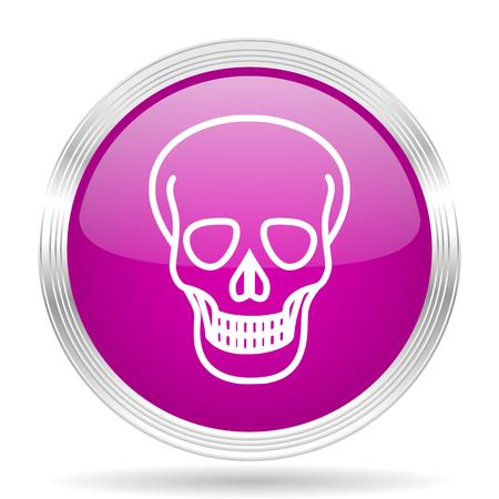 pirating: skull pink modern web design glossy circle icon Stock Photo