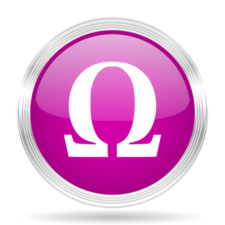 omega: omega pink modern web design glossy circle icon
