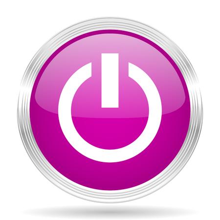 running off: power pink modern web design glossy circle icon Stock Photo