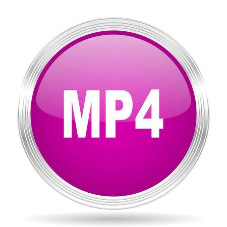 mp4: mp4 pink modern web design glossy circle icon Stock Photo