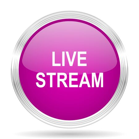 live stream movie: live stream pink modern web design glossy circle icon Stock Photo