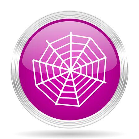 spider web: spider modern web pink modern web design glossy circle icon Stock Photo