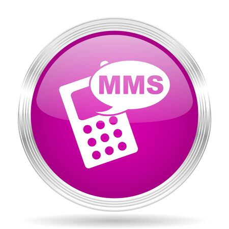 mms: mms pink modern web design glossy circle icon Stock Photo